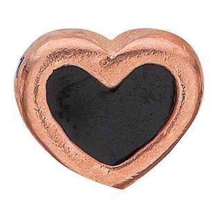Black Enamel Heart rosa forgyldt 925 sterling sølv  Collect urskive pynt smykke fra Christina Collect